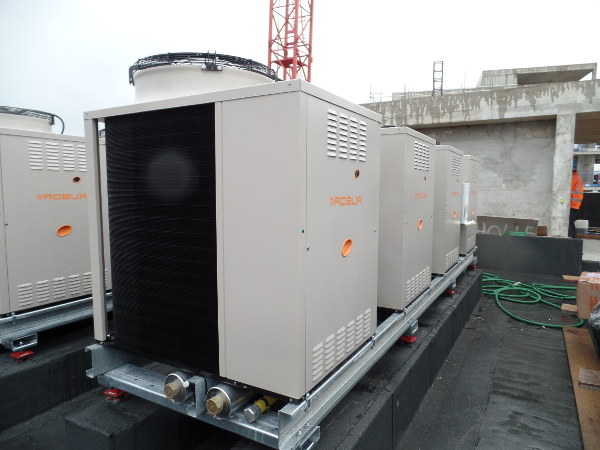 Robur chillers installed on the apartment rooftops at Embassy Gardens